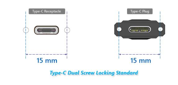 Professional Locking Screws Type C Male Cables Panel Mount