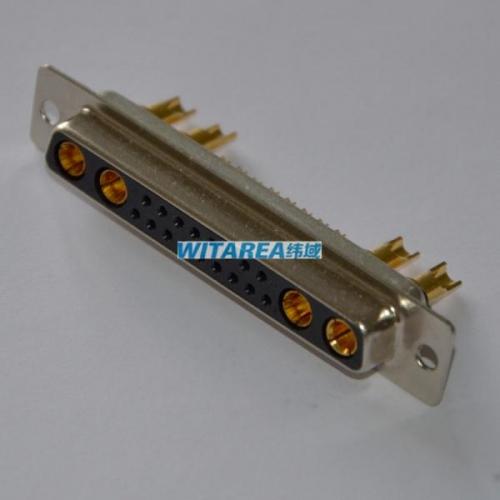 Pack of 2 Combination Layout D Sub Connector DEMN5W1PNK87 Through Hole 4 Contacts DEMN5W1PNK87 1 Plug DE-5W1 DM Series